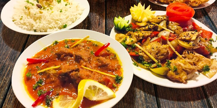 Ráj indických chutí pro dva: vegetariánské, kuřecí i jehněčí pokrmy