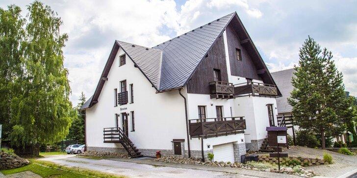 Rodinná letní dovolená v Krkonoších: polopenze a láhev vína nebo bobovka