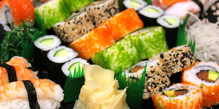 Až 46 ks čerstvého sushi: vegetariánské, smažené i s krevetou nebo lososem