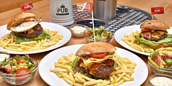 Burgerové menu pro jednoho i pár v pubu se samoobslužnými výčepy
