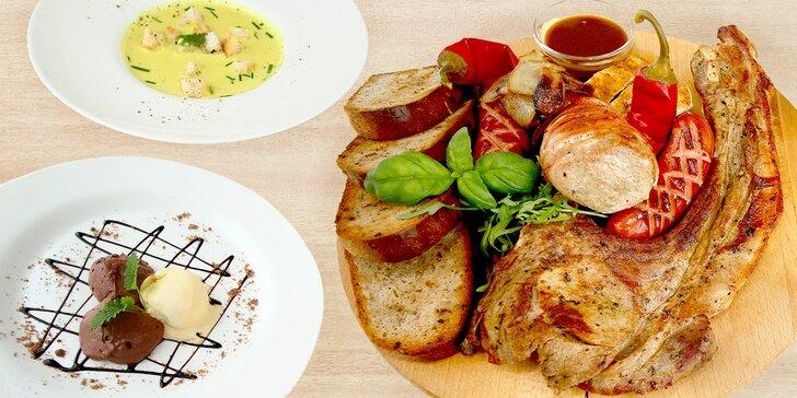 Menu Oderberg: steak, panenka, dezert i pivo a možnost pivních lázní pro 2