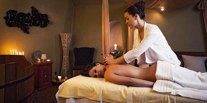 Dvouhodinový relaxační rituál s vůní vína: koupel, masáž i pohoštění pro dva