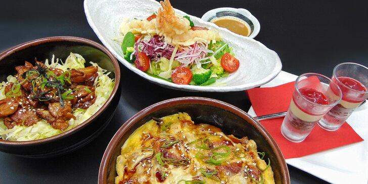 Japonské menu o třech chodech: salát s krevetami, úhoř, kuře teriyaki i dezert