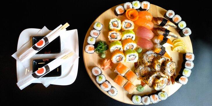 Sushi sety v OC Olympia: 20 nebo 50 kusů s tuňákem, avokádem i úhořem