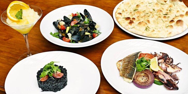 Středomořské degustační menu: rizoto, rybí plato a pomerančový sorbet