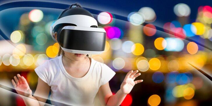 Až 175 min. virtuální reality pro 1–4 hráče: dinosauři, auta i Star Wars