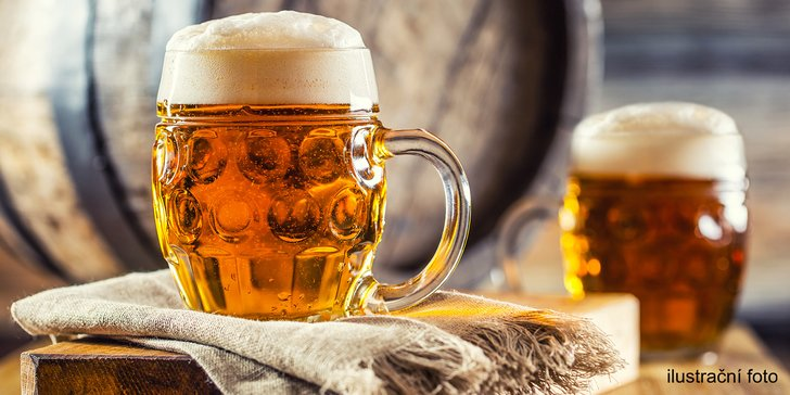 2x půllitr piva: polotmavý Řepiš 12° nebo světlý ležák Harcíř 12°
