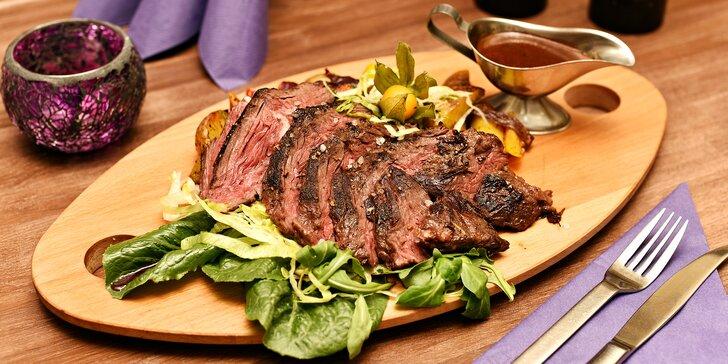 Parádní porce: 400g marinovaný hovězí hanger steak s omáčkou demi-glace