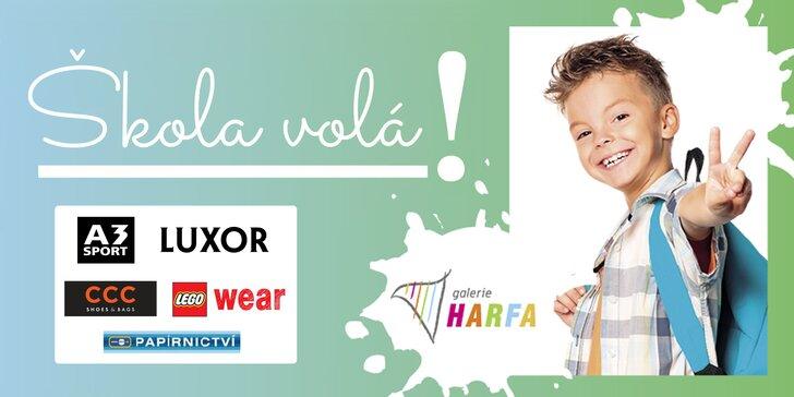 Vybavte děti do školy v Galerii Harfa: slevy na nákupy a zábava pro děti