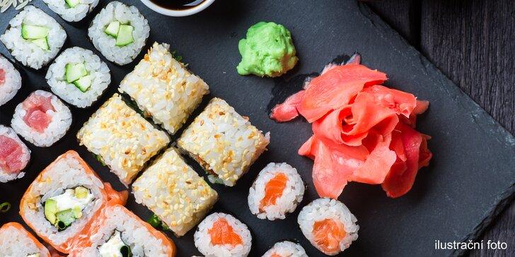 Sushi set s 35 kousky: grilovaná kreveta, losos, tuňák i okurka a avokádo