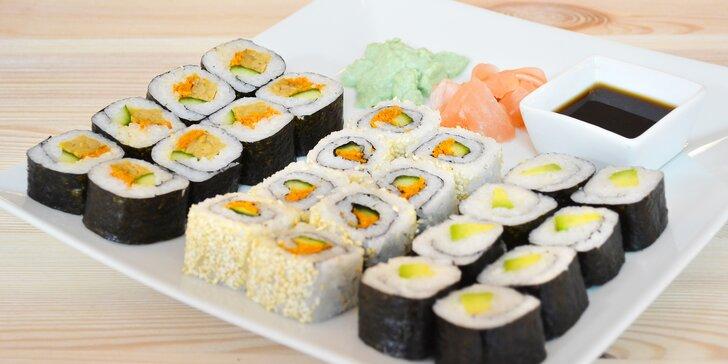 Šťavnatá pochoutka nejen pro vegany: 16 nebo 32 ks sushi se zeleninou