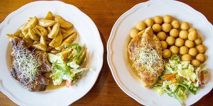 300g steaky z hovězího, kuřecího nebo vepřového masa pro 2 nebo 4 osoby