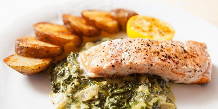 4chodové menu pro 2: portobello, polévka gazpacho i grilovaný filet z lososa