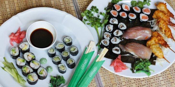 Posezení v asijské restauraci: sushi sety s 16–39 ks, krevety, losos i avokádo