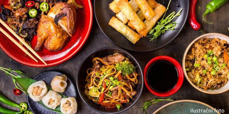Asijské 3chodové menu pro 1 či 2 osoby: pestrá nabídka včetně krevet