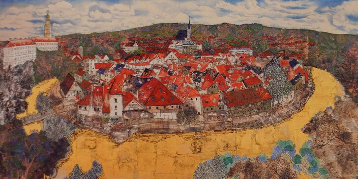 Český Krumlov, malba zlatem