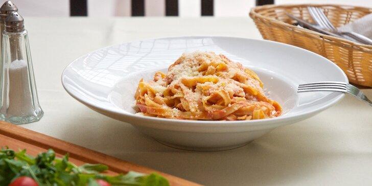 Polední menu: domácí těstoviny tagliolini na výběr ze 3 úprav nebo lasagne