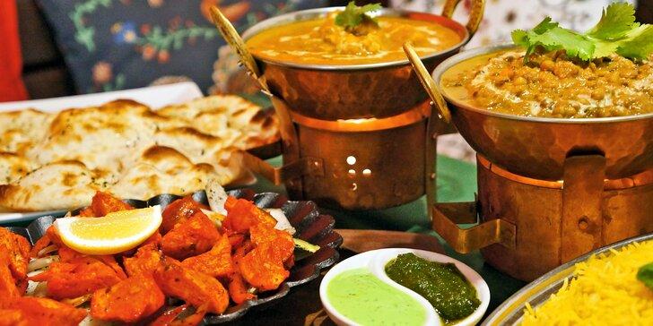 Tříchodové indické menu: vegetariánské nebo masové a exotický nápoj