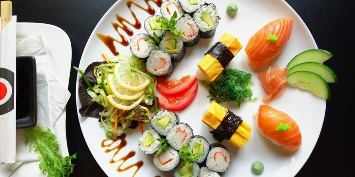 Sushi sety v OC Olympia: 20 nebo 58 kusů s tuňákem, avokádem i krevetami