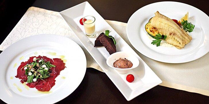 3chodové menu pro pár: jelení carpaccio či mečoun, treska i steak z bizona