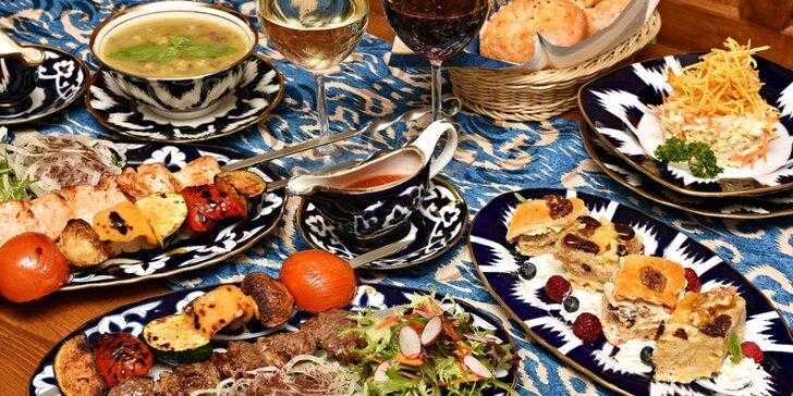Uzbecké degustační menu: salát Incha, polévka Mašchurda i tradiční dezert
