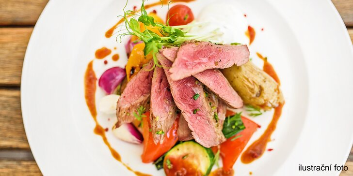 Steak v liberecké restauraci Plaudit: hovězí, panenka či filátko včetně přílohy