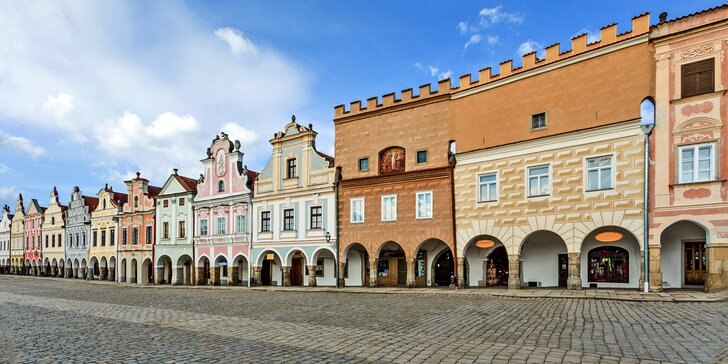 3–4 dny v Telči: hotel přímo na náměstí, snídaně a skvělé zákusky z cukrárny