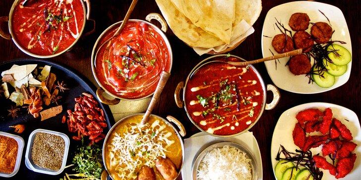 Pestré indické menu až pro 4 os.: kombinace nejoblíbenějších jídel z nabídky