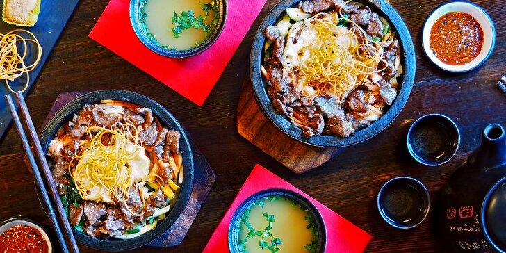3chodové asijské menu: polévka Miso, Udon nudle s hovězím a dezert Mochi