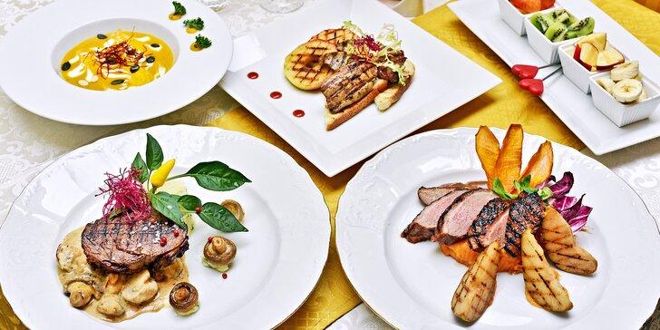 3chodové menu pro 2 s hovězím steakem nebo kachním prsíčkem
