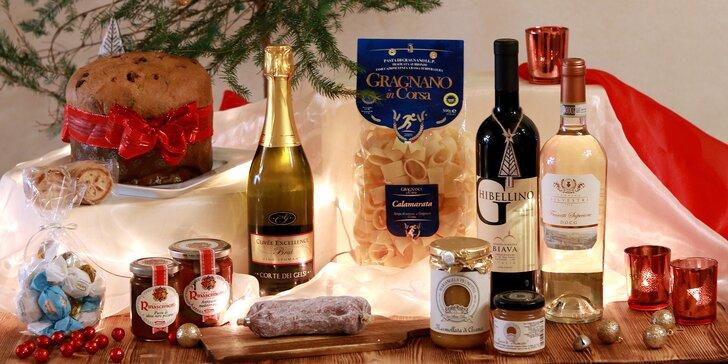 Dárkové koše italských delikates: Panettone i šumivé víno Spumante