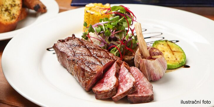 Steaky v Plaudit Turnov: hovězí, kuřecí nebo vepřová panenka a k tomu příloha