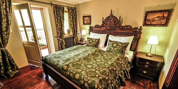 Luxus s nádechem historie: hotel v centru Krumlova se snídaní a relaxací