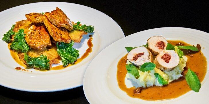 Večeře se vším všudy: menu podle výběru s kančím, rybou i krůtím pro 2 os.