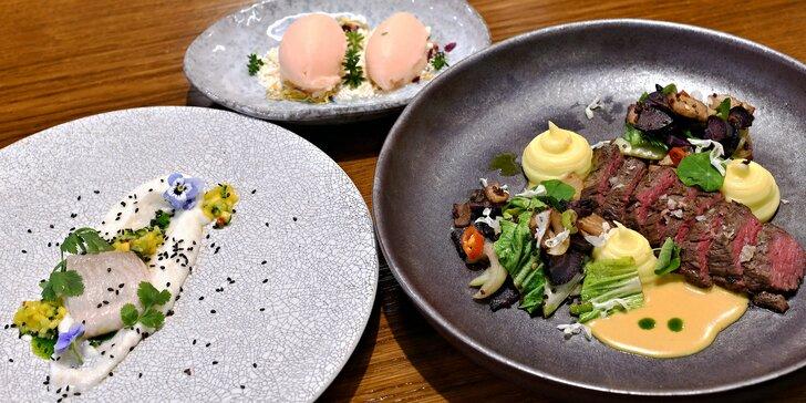 Menu pro 2: Crème brûlée z foie gras, pečená hlíva i champagne sorbet z růží