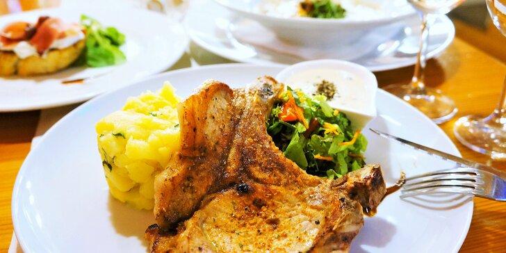 Parádní večeře: čtyřchodové menu s vepřovou kotletou pro 1 i 2 osoby