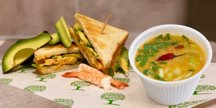 Sandwich s lososem nebo sardinkami, polévka miso nebo tom yum a wakame