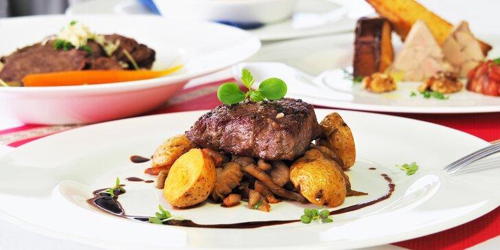 4chodové menu s foie gras, steakem či supreme a výhledem na přehradu