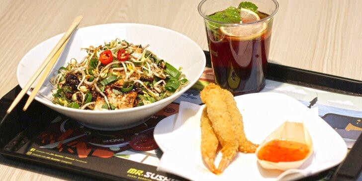 Japonsko-thajské menu: kuře, krevety nebo losos a domácí limonáda