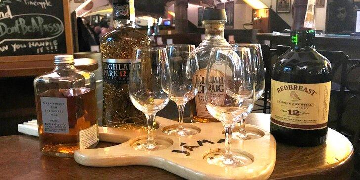 Ochutnávejte: degustace 4 druhů whisky a BBQ žebra v centru Prahy pro dva