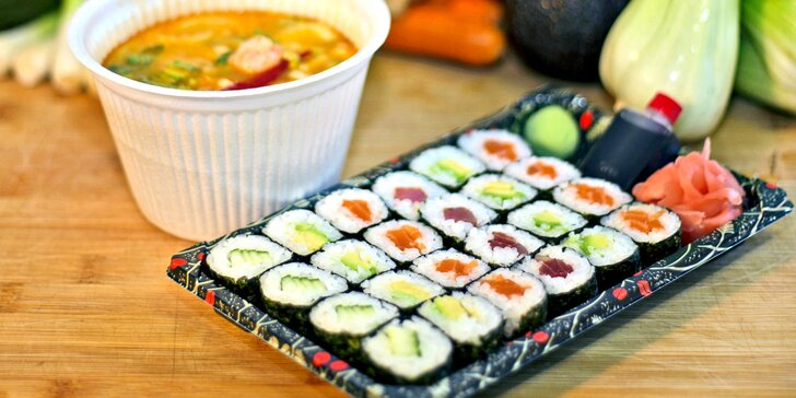 Obědové sushi menu s rozvozem po Praze 5, 6, 13, 17: polévka a 24 ks sushi