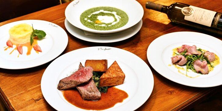 4chodové menu v restauraci s prvorepublikovou atmosférou pro dvě osoby