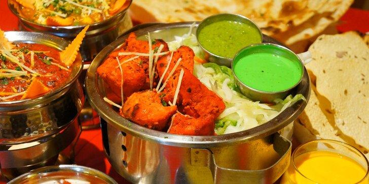 Indie na talíři: 3chodové menu s nápojem pro 2, vegetariánské i masové