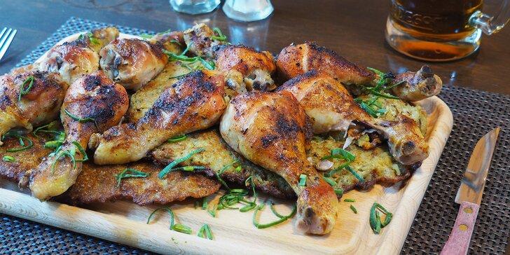 Skvělé jídlo: kuřecí špalíčky a bramborové placky se škvarky pro dva