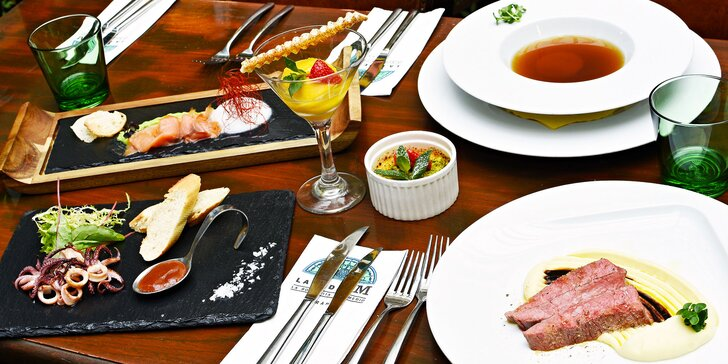 6chodové menu v La Bodeguita del Medio: losos, kalamáry i flank steak