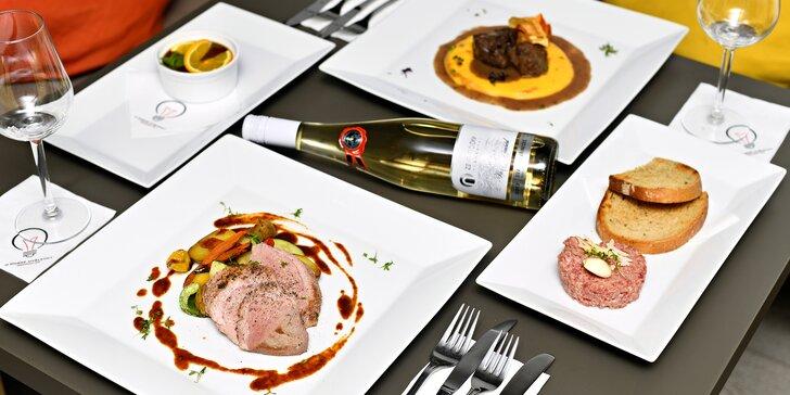 Romantická 4chodová večeře na náplavce: tataráček, kachní prso i víno