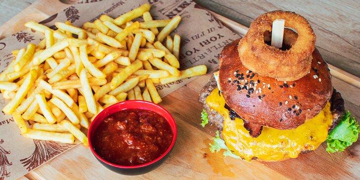 Chefs burger s hovězím masem, hranolky a BBQ omáčka pro 1 i 2 osoby