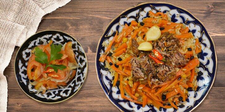 Uzbecký plov a salát s sebou nebo na dovážku pro jednoho i dva
