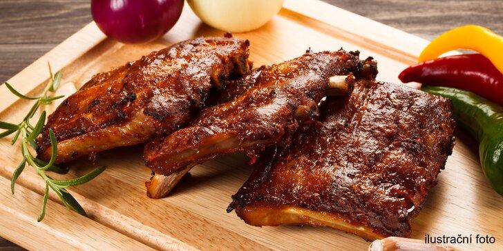 Pečená vepřová žebra s BBQ omáčkou: porce pro jednoho i pro partu