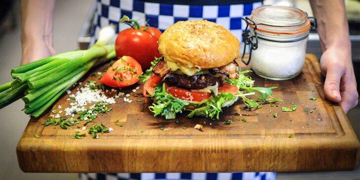 Burgerové menu s hovězím masem nebo kozím sýrem na Vinohradech